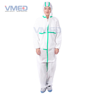 Disposable White Type 5&6 SMS Coverall With Green Adhesive Strip