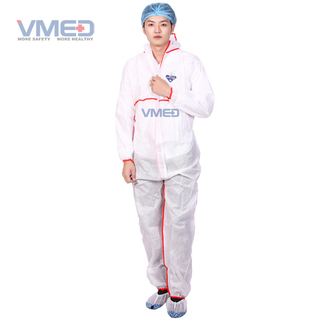 Disposable White SMS TYPE 5 Coverall With Red Strip