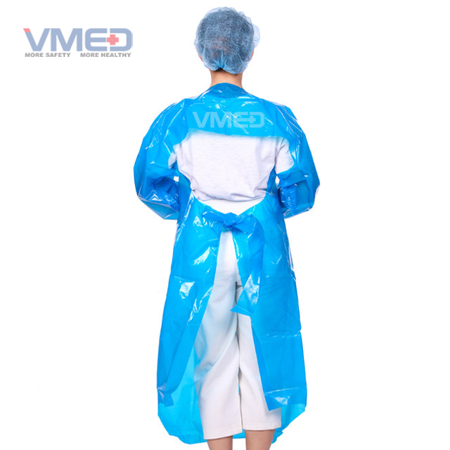 Disposable Blue CPE Gown with Back Loop