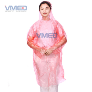 Disposable Pink PE Rain Coat
