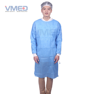 Disposable SMS Non-woven Surgical Gown With Knitted Cuffs