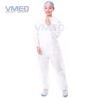 Disposable SPP Non-woven White Coverall With Single Collar