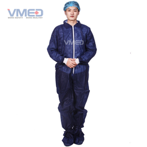 Disposable Dark Blue Non-woven Protective Coverall