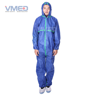 Disposable SMS Dark Blue Coverall With Green Strips