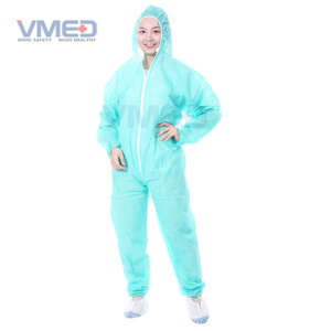 Disposable SPP Non-woven Green Coverall With Attached Hood