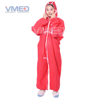 Disposable Red SMS Coverall With White Strips