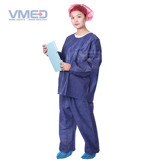 Disposable SMS Non-woven Scrub Suite With Round Neck And Long Sleeves